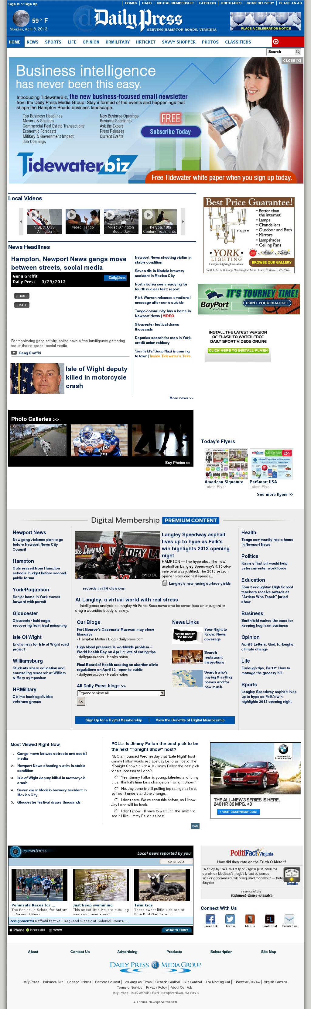 (Hampton Roads) Daily Press at Monday April 8, 2013, 6:04 a.m. UTC